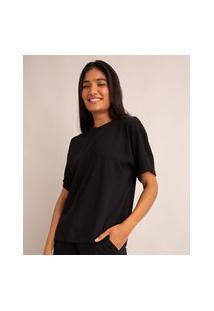 Camiseta Oversized Básica De Algodão Manga Curta Decote Redondo Com Recorte Preto