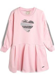 Vestido Colorittá Infantil Coração Rosa