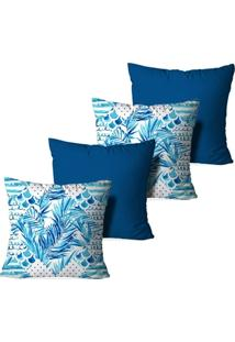 Kit 4 Capas Para Almofadas Decorativas Feuilles Bleues - Unissex
