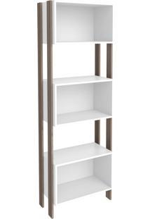 Estante Para Livros 3 Nichos 3093 Rústico/Branco - Móvel Bento