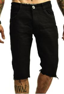 Bermuda Rich Young Sarja Bã¡Sica Lisa Preta - Preto - Masculino - Dafiti