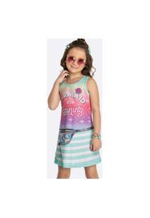 Vestido Infantil Sem Manga Canelado Estampado Tam 4 A 10