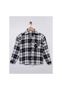 Camisa Flanela Xadrez Juvenil Para Menino - Preto/Branco