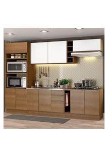 Cozinha Completa Madesa Stella 290001 Com Armário E Balcão Rustic/Branco Cor:Rustic/Rustic/Branco