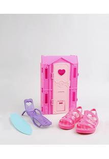Sandália Infantil Barbie Com Casa De Praia Pink