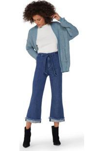 Calça Jeans Cropped Flare Amarração