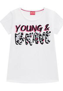 Blusa Infantil Amora Yong Brave Onça Feminina - Feminino-Branco