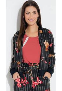 Jaqueta Listrada Floral Com Recorte Em Tela