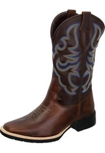 Bota Texana Country Texas Gold Bico Quadrado Tribal Marrom - Kanui