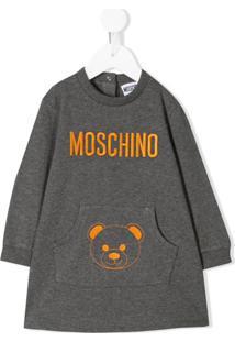 Moschino Kids Moletom Com Logo - Cinza