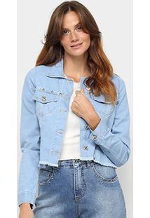 Jaqueta Jeans Biotipo Cropped Com Aplicação Feminina - Feminino-Azul