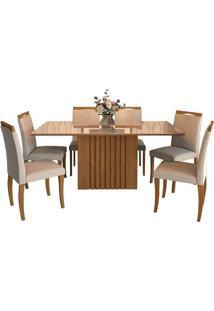 Sala De Jantar Ana 180Cm Com 6 Cadeiras Savana/Off White Aspen