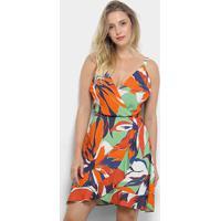 57a7ba93ec80 Vestido Morena Rosa Evasê Curto Floral Transpassado - Feminino-Verde+Laranja
