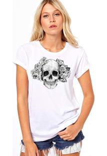 Camiseta Coolest Caveira Com Flores Branco