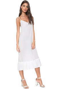 Vestido Finery London Harton Pleated Hem Slip Dress Branco