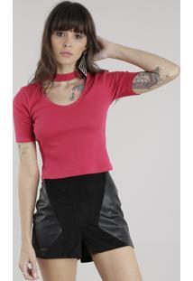 Blusa Cropped Choker Rosa Escuro
