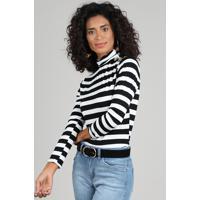 a71dc31d76 Blusa Feminina Listrada Com Botões Manga Longa Gola Alta Branca