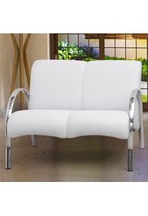 Poltrona Decorativa Polly 2 Lugares - Pés Em Aluminio - Courino Branco