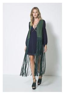 Colete Chamois Long Fringe Verde Jungle