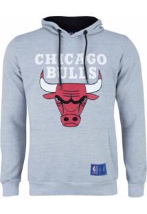 Casaco Moletom Chicago Bulls Canguru Logo Cinza - Nba .
