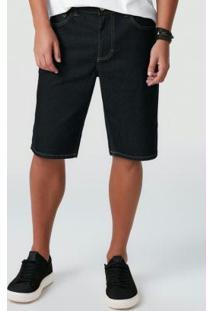 Bermuda Azul Escuro Em Jeans Com Elastano