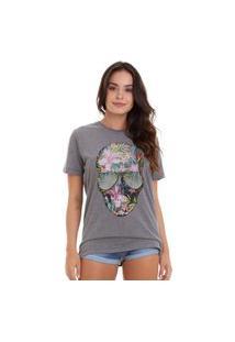 Camiseta Basica Joss Caveira Flores Coloridas Chumbo