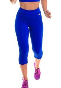 Calça Corsário Com Proteção Solar Fitness Run - Sandy - Feminino-Azul Royal