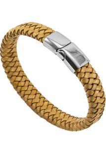 Bracelete De Aço Inox Tudo Joias Com Couro Antique Black - Unissex-Bege