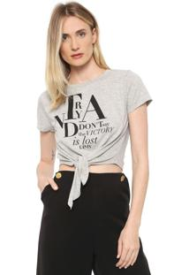 Camiseta Cropped Dimy Lettering Cinza