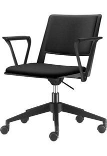 Cadeira Up Com Bracos Assento Estofado Preto Base Rodizio Piramidal Em Nylon - 54296 - Sun House