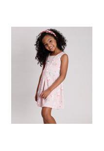 Vestido Infantil Texturizado Estampado Floral Sem Manga Rosê