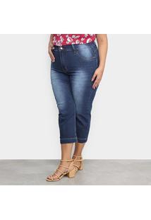 Calça Jeans Xtra Charm Plus Size Cropped + Cinta Modeladora Feminina - Feminino-Azul