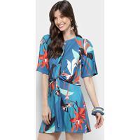 2030aad91 Vestido Morena Rosa Evasê Curto Cores Nó - Feminino-Azul Royal+Laranja