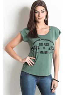 Blusa Verde Musgo Com Estampa Frontal
