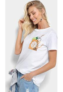 Camiseta My Favorite Thing (S) Detalhe Bolso Metalizado Feminina - Feminino-Branco