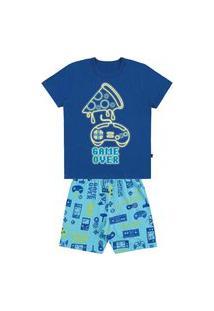 Pijama Infantil Camiseta E Bermuda Meia Malha Brilha No Escuro-6