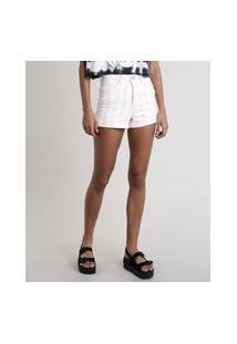 Short De Sarja Feminino Hot Pant Listrado Barra Dobrada Off White