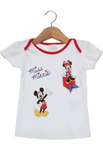 Camiseta Manga Curta Bebê Disney By Tricae Minnie Branca.