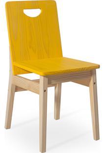 Cadeira De Jantar De Madeira Maciça Tucupi 40X51X81Cm - Acabamento Stain Natural E Amarelo
