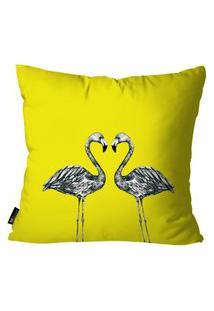 Capa Para Almofada Mdecore Flamingos 45X45Cm Amarelo