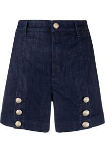 Jacob Cohen Short Jeans Com Cintura Alta - Azul