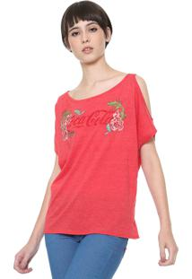 Camiseta Coca-Cola Jeans Off Shoulders Vermelha