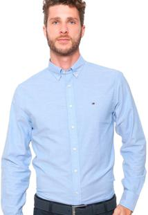Camisa Tommy Hilfiger Masculino Custon Fit Oxford Azul