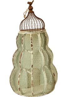 Gaiola Decorativa De Metal Envelhecido Réseau Grande