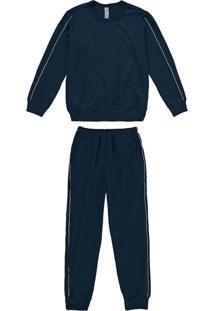 Pijama Azul Marinho Em Moletinho Menino