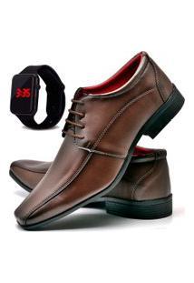 Sapato Social Fashion Com Relógio Led Dubuy 804El Marrom