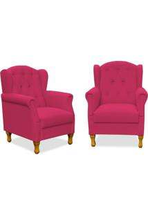 Kit 02 Poltronas Decorativas Para Sala De Estar Yara Suede Pink - Lyam Decor