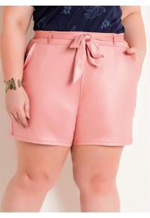 Short Em Cirrê Rosa Plus Size Com Amarração