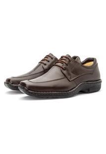 Sapato Masculino Em Couro Macio Cadarço Moderno Preto 36 Café
