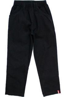 Calça De Sarja Com Elástico Preta Tóing